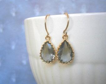 Petite Grey Earrings, Gold Earrings, Teardrop, Bridal Jewelry, Bridesmaid Earrings, Best Friend Birthday