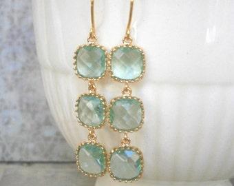 Mint Green Glass Earrings, Triple Glass Gold Earrings, Wedding Jewelry, Bridal Jewelry, Best Friend Birthday, Sister, Mother
