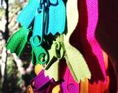 22 inch Long Pull handbag YKK zippers, TEN pcs, black, red, yellow, orange, turquoise, blue, pink, fuchsia, green, 4.5 mm zippers