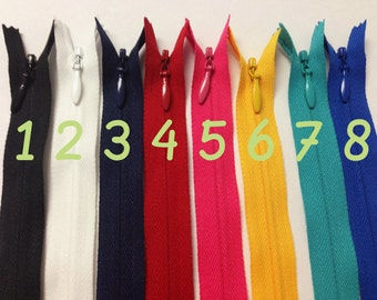 24 Inch invisible zippers, 10 pcs, Choose colors, black, white, navy, red, hot pink, sunflower, turquoise, royal blue