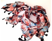Rectangle  Fabric Scarf Shawl Cirle Bilateral Double Face With Black Tasseled