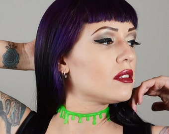 Zombie Goo Green Blood  Necklace -  choker  necklace-Thin Drip