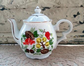 Vintage Retro Teapot Fruits Nuts Orange Green Yellow