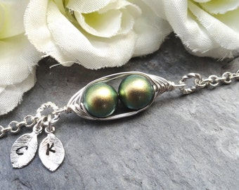 Sweet 2 Peas In A Pod Silver Bracelet 2,3 Or 4 Swarovski Pearls Choose Your Color Or Beads. Ideal Gift For Mom
