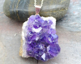 Raw Amethyst Necklace, February Birthstone, Sterling Silver Amethyst Necklace, Druzy Amethyst Necklace, gift boxed Jewelry