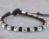 Rhinestone Wrap Bracelet - Trendy - Stacking - Single Strand - Button Closure - Flaunt in Crystal by SplendorVendor on Etsy
