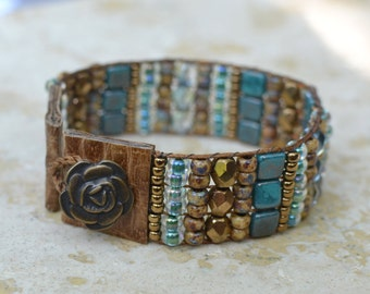 Loomed Beaded Bracelet - Sundance Style Artisan Jewelry - Turquoise, Copper, Earthtones - Go West by SplendorVendor