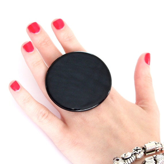 Adjustable Black Ring Ceramic - big bold oversized handmade cocktail ring -  ROCK STAR - 2.4 inch