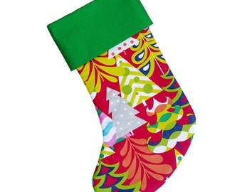 Red and Green Christmas Trees Stocking   Traditional Stocking   Personalized Stocking Option Available    CS0013 by Forshee Designs