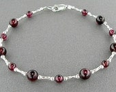 Garnet Bracelet in  Natural Gemstones and Sterling Silver Twisted Spacers in Small to Large Sizes, 7-10 inches,
