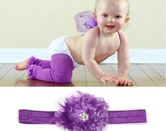 Purple Baby Leg Warmers Headband Set