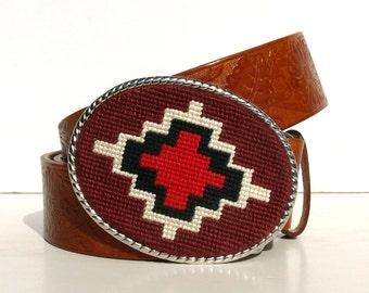 Needlepoint Western Class Belt Buckle