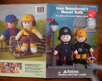 1993 knitting patterns Jean Greenhowe MASCOT DOLLS toy children