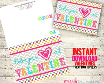INSTANT DOWNLOAD Printable Color your heart out! Valentines for Valentines Day perfect for school or Valentine's Day Parties