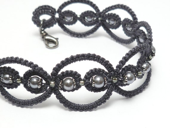 Tatted Lace Bracelet in modern colors with glass and gunmetal -Infinity MTO simple lace jewelry