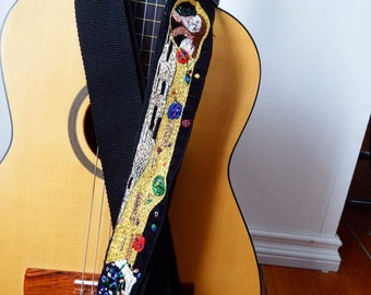 Custom Klimt Hand Embroidered Guitar Strap - The Kiss- Gold Music Strap- Modern Art Strap