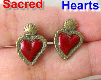 Sacred hearts MILAGROS stud earrings Day of the Dead mexico Folk altered Art dia de los muertos altered art aretes