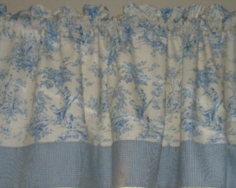 ABC Central Park Toile Window Valance with Checked Border
