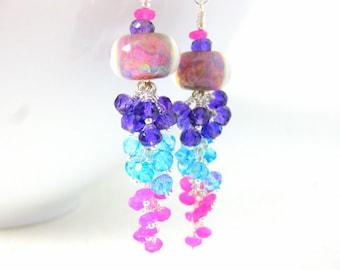 Colorful Gemstone Dangle Earrings, Boro Lampwork Earrings, Pink Peach Purple, Amethyst Blue Topaz Pink Jade Earrings, Pastel Earrings  Candy