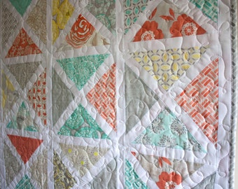baby quilt or wall hanging // garden arbor quilt in modern roses fabric // READY TO SHIP