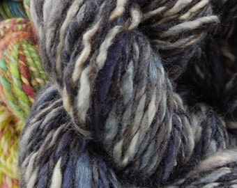 HANDSPUN TUNDRA Nightsky - Bluefaced Leicester wool and Tussah Silk, 75/25 percent, 2.3 oz/67g, 69 metres/76 yards Thick & Thin