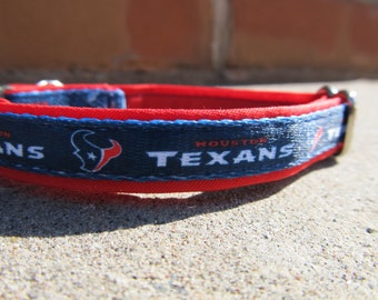 Houston Texans Cat or Small Dog Collar with Option of Red or Pink Backing