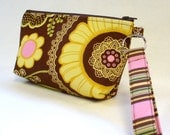 Bridesmaid Gift Wristlet Clutch Purse Zipper Pouch Cosmetic Bag Makeup Bag Key Fob Amy Butler Lacework Brown Pink Yellow MTO