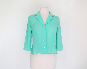 MINTY FRESH // mint green 1970s or 80s button up blouse S / M / L