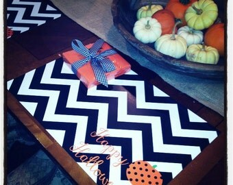 Halloween Chevron Paper Placemats - Set of 12