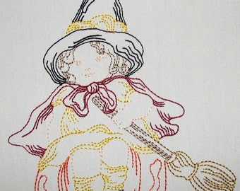 Machine Embroidery Design- Halloween Colorline #06- Child Dressed Up as Witch- with 3 sizes Included!