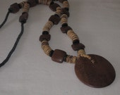 vintage 1970s Wood Bead Necklace with a Wood Disk Pendant