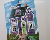 Tulip Time Cottage Blank Card with Envelope Artwork by Kim Leo