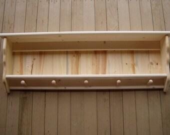 "Rustic Primtive Coat Rack Shaker Country Wall Shelf 42"" Wood 2 Shelf Rack"