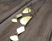 SALE Tri Mystic - Triple brass Shape earrings - Artisan Tangleweeds Jewelry