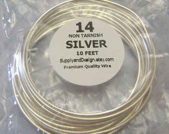 14 Gauge Silver Non Tarnish Permanently Colored Enameled Wire, 10 Feet