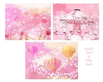 Pink Carnival Prints, Baby Girl Nursery Decor, Pink Ferris Wheel, Pink Hot Air Balloons, Pink Carnival Ride, Carnival Prints Wall Art Decor
