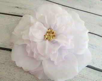 Flower hair clip, floral headpiece, hair accessories, white flower, weddings, bridal hair, Easter, Spring- JOSEPHINE