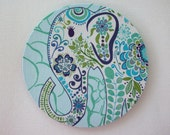 Mouse Pad mousepad / Mat - round - Pretty blue Elephant - Computer Accessories Geekery Custom Desk Coworker Gifts Office Gifts