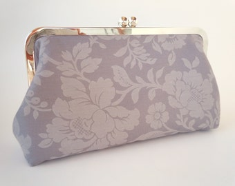 Gray Grey Floral Clutch, OOAK, Wedding Purse, Bridesmaids Gifts, Deep Teal Satin,  Personalized Gift