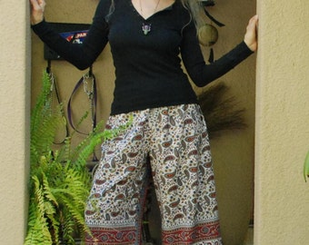 "Hippie Pants -East Indian - Red Grey  Paisley Design- Length 37 1/2"" Hips 46""-"