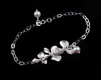 Wedding Jewelry Triple Orchid Silver Bridesmaid Bracelet
