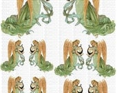Instant Digital Download Harp Angels Victorian Wings Spritual Transparent PNG and Instructions on how to make Waterslide Decals too! ECS