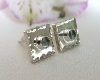 Square Chunky Thick Silver Posts with Blue Topaz