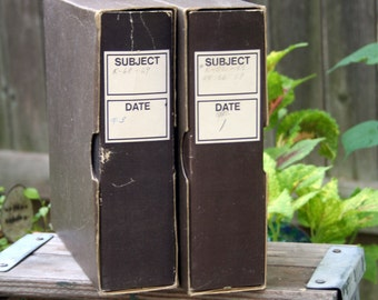 Vintage Slide Container Storage Boxes / Set of Two
