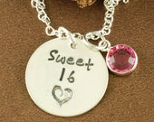 Sweet 16 Jewelry, Hand Stamped Necklace, Love Necklace, Sweet 16 Gift