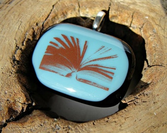 Black and Blue Fused Glass Pendant - I love books