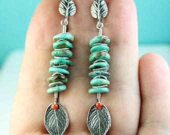 Turquoise long drop dangle earrings, Sterling silver, Stud/Post earrings, Statement earrings, Dec birthstone, turquoise earrings, art4ear