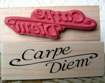 Carpe Diem text rubber stamp from oldislandstamps