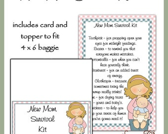 New Mom Survival Kit includes Topper and Card - Digital Printable - Immediate Download