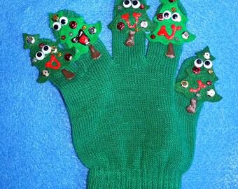 Puppet Glove Set 5 LITTLE CHRISTMAS TREES Puppet Glove Set